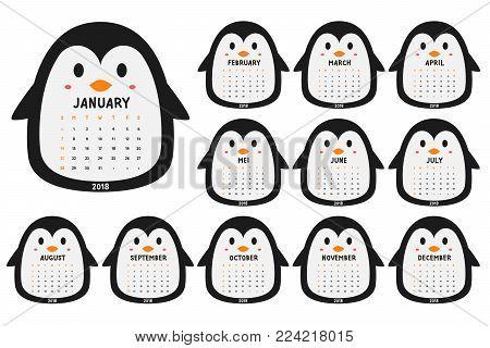 cute penguin 2018 calendar. printable 2018 calendar, cartoon vector. animal shaped 2018 calendar template