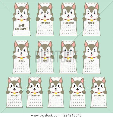 2018 calendar template. 2018 animal shaped calendar, cute husky holding calendar. printable 2018 calendar cartoon vector.