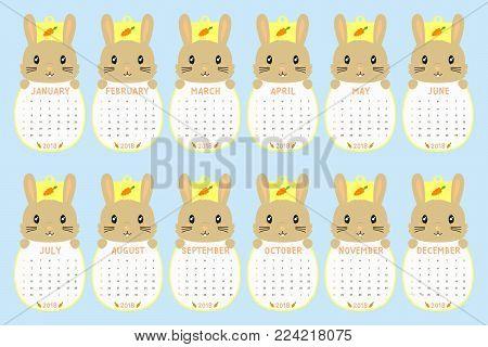 2018 calendar template. 2018 animal shaped calendar, cute brown rabbit holding calendar. printable 2018 calendar cartoon vector.