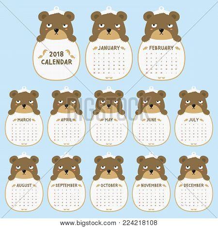 2018 calendar template. 2018 animal shaped calendar, cute grumpy bear holding calendar. printable 2018 calendar cartoon vector.