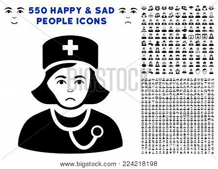 Sadly Physician Lady pictograph with 550 bonus pitiful and glad men pictographs. Vector illustration style is flat black iconic symbols.