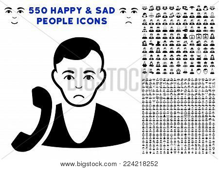 Pitiful Receptionist pictograph with 550 bonus sad and happy people symbols. Vector illustration style is flat black iconic symbols.