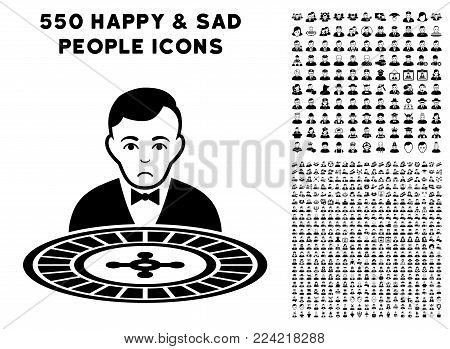 Pitiful Roulette Dealer icon with 550 bonus pitiful and glad jobs symbols. Vector illustration style is flat black iconic symbols.