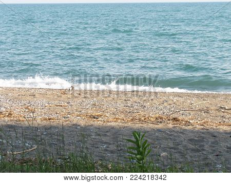 Waves lapping at a rocky beach on the shore of Lake Erie.