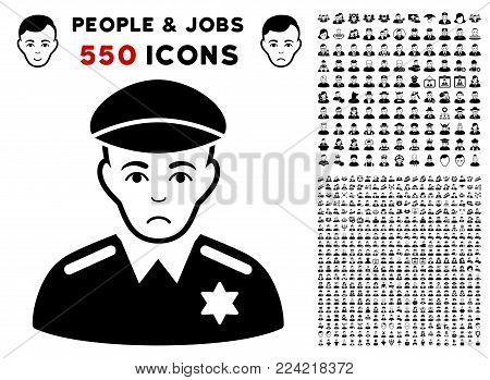 Pitiful Sheriff pictograph with 550 bonus pity and happy jobs images. Vector illustration style is flat black iconic symbols.