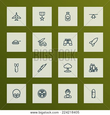 Battle icons line style set with rocket, cranium, bomb and other rocket  elements. Isolated vector illustration battle icons.