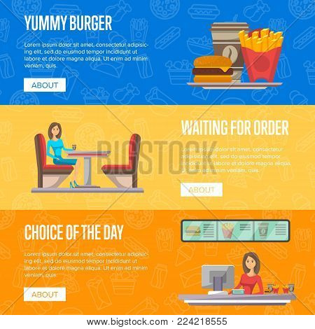 Street fast food cafe flyers set. Restaurant takeaway menu with coffee cup, french fries and hamburger. Cafe counter with young woman cashier, waiting for order in cafeteria vector illustration