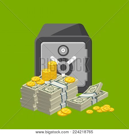 Metallic safe box with big pile of paper banknotes and golden coins near. Bank deposit box with closed door isolated vector illustration. Money storage, banking and financial safety, cash security