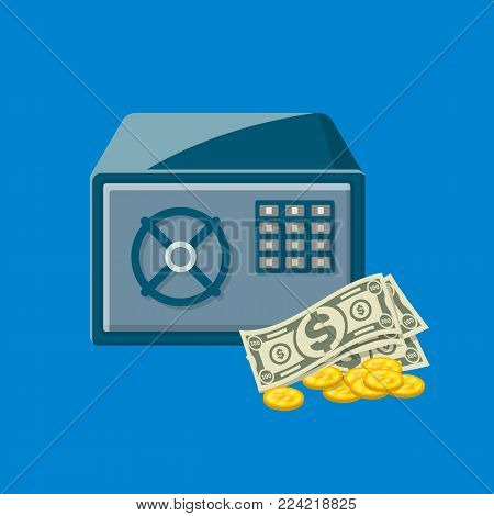 Metallic safe box with paper banknotes and golden coins near. Bank deposit box with closed door and buttons of electronic combination lock. Money storage, cash security isolated vector illustration.