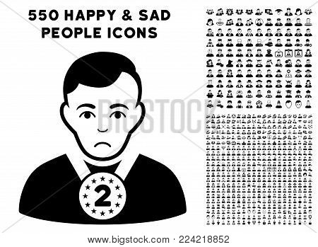 Pitiful 2nd Prizer Sportsman pictograph with 550 bonus pitiful and happy men icons. Vector illustration style is flat black iconic symbols.