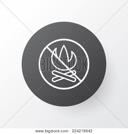 No bonfire icon symbol. Premium quality isolated fire banned element in trendy style.