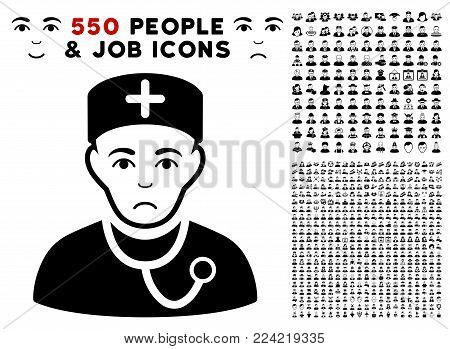 Pitiful Physician pictograph with 550 bonus pity and glad men icons. Vector illustration style is flat black iconic symbols.