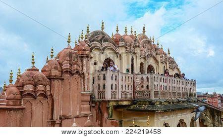 Jaipur, India - Jul 27, 2015. People Visit Hawa Mahal (wind Palace) In Jaipur, India. The Palace Was