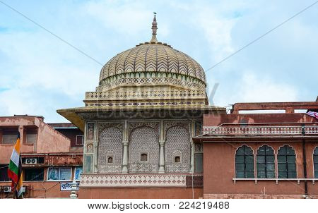 Jaipur, India - Jul 27, 2015. Dome Of Hawa Mahal (wind Palace) In Jaipur, India. The Palace Was Buil