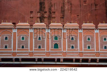 Details Of Hawa Mahal (wind Palace) In Jaipur, India. The Palace Was Built In 1799 As An Extension T