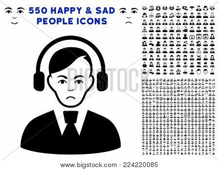 Pitiful Call Center Operator pictograph with 550 bonus pitiful and happy people pictograms. Vector illustration style is flat black iconic symbols.