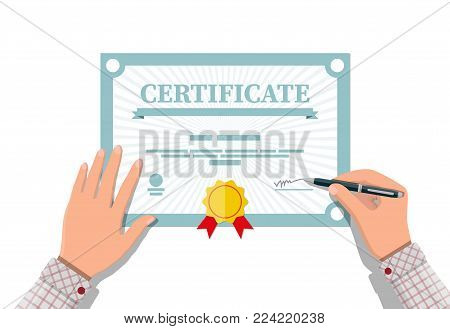 Businessman hand signs certificate. Diploma or accreditation with yellow stamp and red ribbons. Voucher or invitation. Graduation concept. Vector illustration in flat style