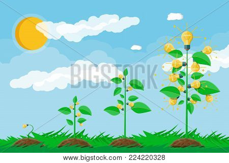 Glowing light bulb hanging on tree with green leaves. Idea tree. Concept of creative idea or inspiration. Glass bulb with spiral. Grass, sky with clouds and sun. Flat style vector illustration.