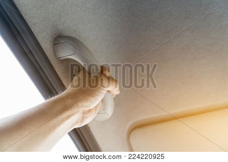 Grab Handles in the car and hand