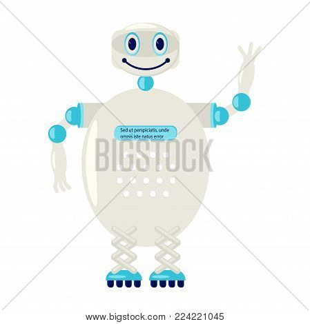 Cartoon Cute chat bot in flat design. Friendly Android Robot Character isolated on white background. Vector illustration eps 10 poster