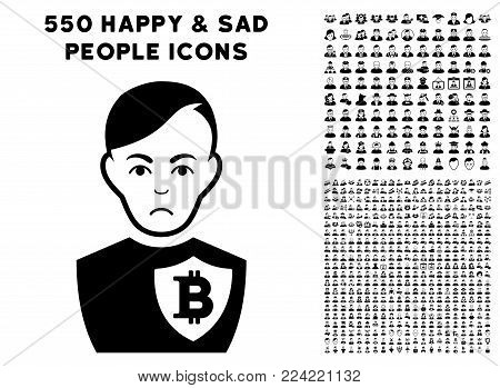 Dolor Bitcoin Police Officer icon with 550 bonus pitiful and happy user design elements. Vector illustration style is flat black iconic symbols.