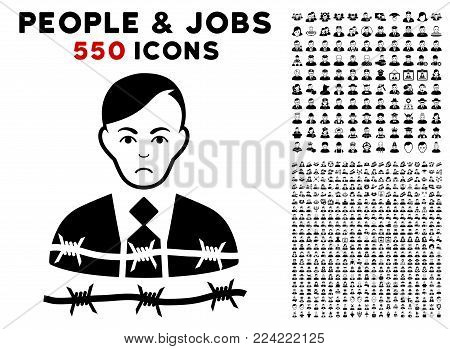 Pitiful Businessman Arrest pictograph with 550 bonus pitiful and happy person pictures. Vector illustration style is flat black iconic symbols.