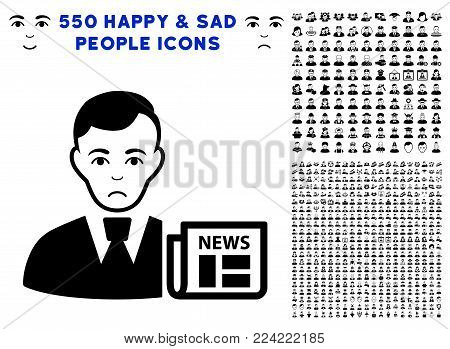 Pitiful Businessman News pictograph with 550 bonus pitiful and happy user clip art. Vector illustration style is flat black iconic symbols.