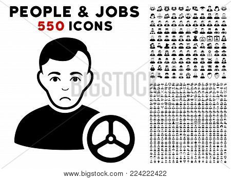 Sad Car Driver icon with 550 bonus pity and happy person clip art. Vector illustration style is flat black iconic symbols.