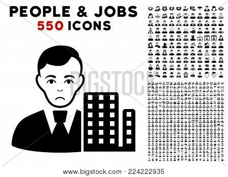 Dolor City Architect icon with 550 bonus pity and happy jobs images. Vector illustration style is flat black iconic symbols.