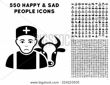 Sadly Cow Veterinarian pictograph with 550 bonus pitiful and happy person design elements. Vector illustration style is flat black iconic symbols.