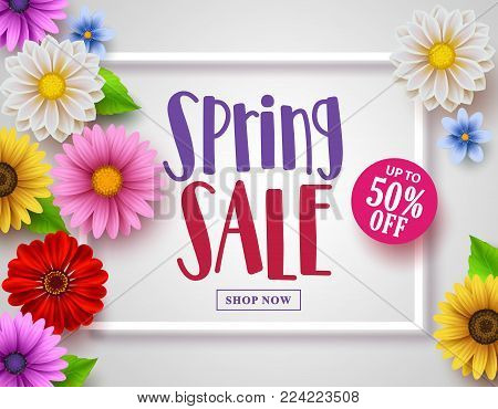 Spring sale vector banner with sale text design in white frame and colorful various flowers and elements in a background for spring season shopping discount promotion. Vector illustration.