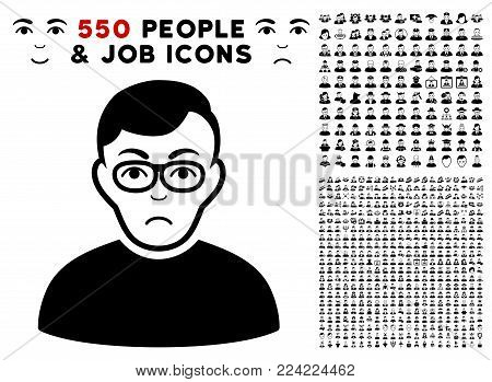 Unhappy Downer pictograph with 550 bonus pitiful and glad person clip art. Vector illustration style is flat black iconic symbols.