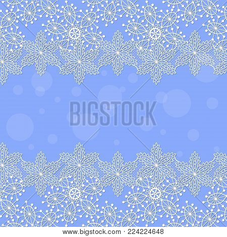 white lace frame with shadow on a blue background