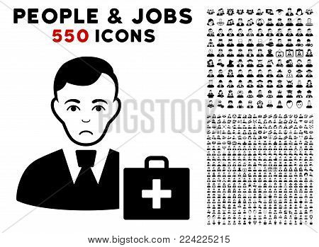 Pitiful First-Aid Manager icon with 550 bonus pitiful and glad user clip art. Vector illustration style is flat black iconic symbols.