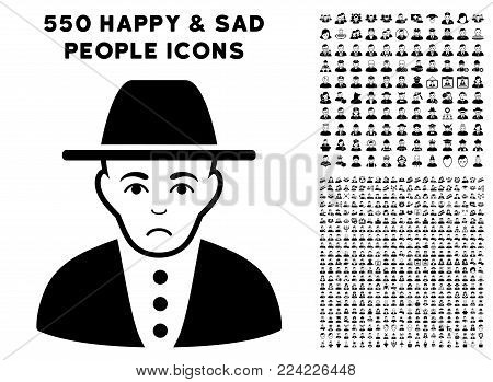 Unhappy Jew pictograph with 550 bonus pitiful and glad user pictographs. Vector illustration style is flat black iconic symbols.