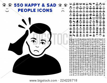 Dolor Kickboxer icon with 550 bonus pity and happy jobs pictures. Vector illustration style is flat black iconic symbols.