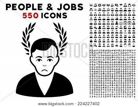 Sad Man Glory pictograph with 550 bonus sad and glad jobs graphic icons. Vector illustration style is flat black iconic symbols.