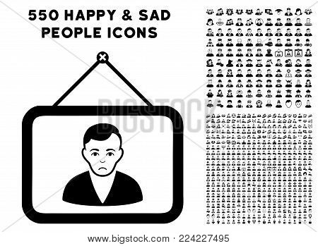 Pitiful Man Portrait pictograph with 550 bonus pitiful and happy user symbols. Vector illustration style is flat black iconic symbols.