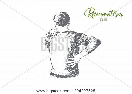 Rheumatism concept. Hand drawn man suffering from back and neck pain. Muscle spasm, rheumatism isolated vector illustration.