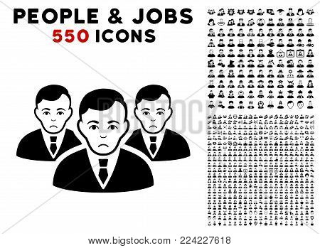 Dolor Manager Group icon with 550 bonus pity and glad jobs icons. Vector illustration style is flat black iconic symbols.