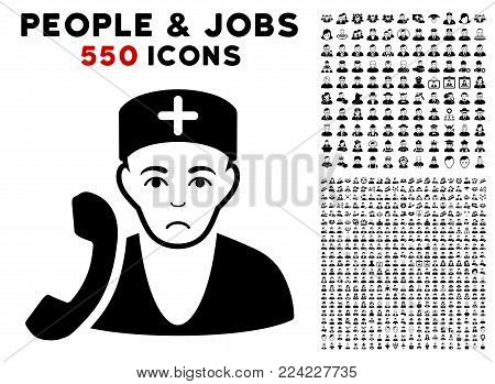 Pitiful Medical Receptionist icon with 550 bonus sad and happy person symbols. Vector illustration style is flat black iconic symbols.