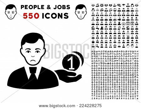Sad Money Payer pictograph with 550 bonus sad and glad person pictures. Vector illustration style is flat black iconic symbols.