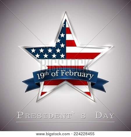 Happy President's Day greeting card with star of USA.