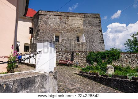 Mukachevo, Ukraine - MAY 25, 2008: courtyard of the Palanok Castle. Old fortification now serves as the museum and is popular tourist landmark