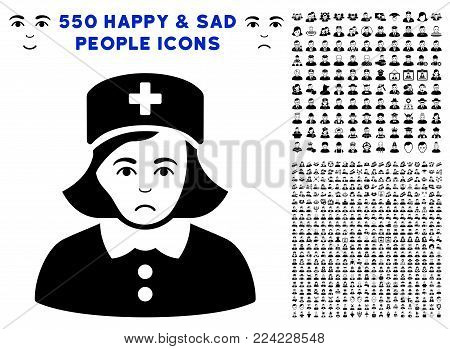 Pitiful Nurse pictograph with 550 bonus pity and happy people pictograms. Vector illustration style is flat black iconic symbols.