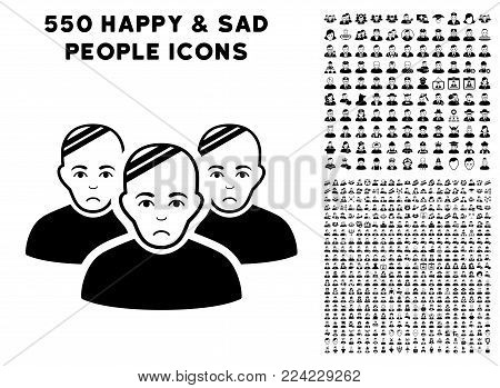 Dolor Patient Group icon with 550 bonus pitiful and happy user icons. Vector illustration style is flat black iconic symbols.