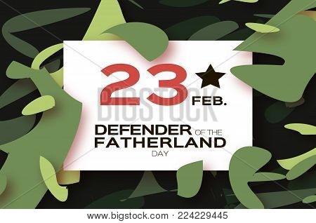 Defender of the Fatherland day. 23 February Greeting card for men on military background. The Day of Russian Army. Russian national holiday in paper cut style. Rectangle frame. Space for text. Layered. Vector.