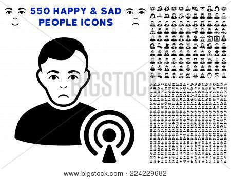 Unhappy Podcast Creator icon with 550 bonus sad and happy men pictographs. Vector illustration style is flat black iconic symbols.
