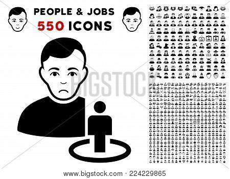 Sadly Portal Moderator icon with 550 bonus pity and glad person symbols. Vector illustration style is flat black iconic symbols.