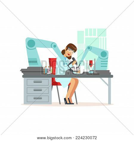 Female scientist and robotic arm conducting experiments in a modern laboratory, artificial intelligence concept vector illustration isolated on a white background